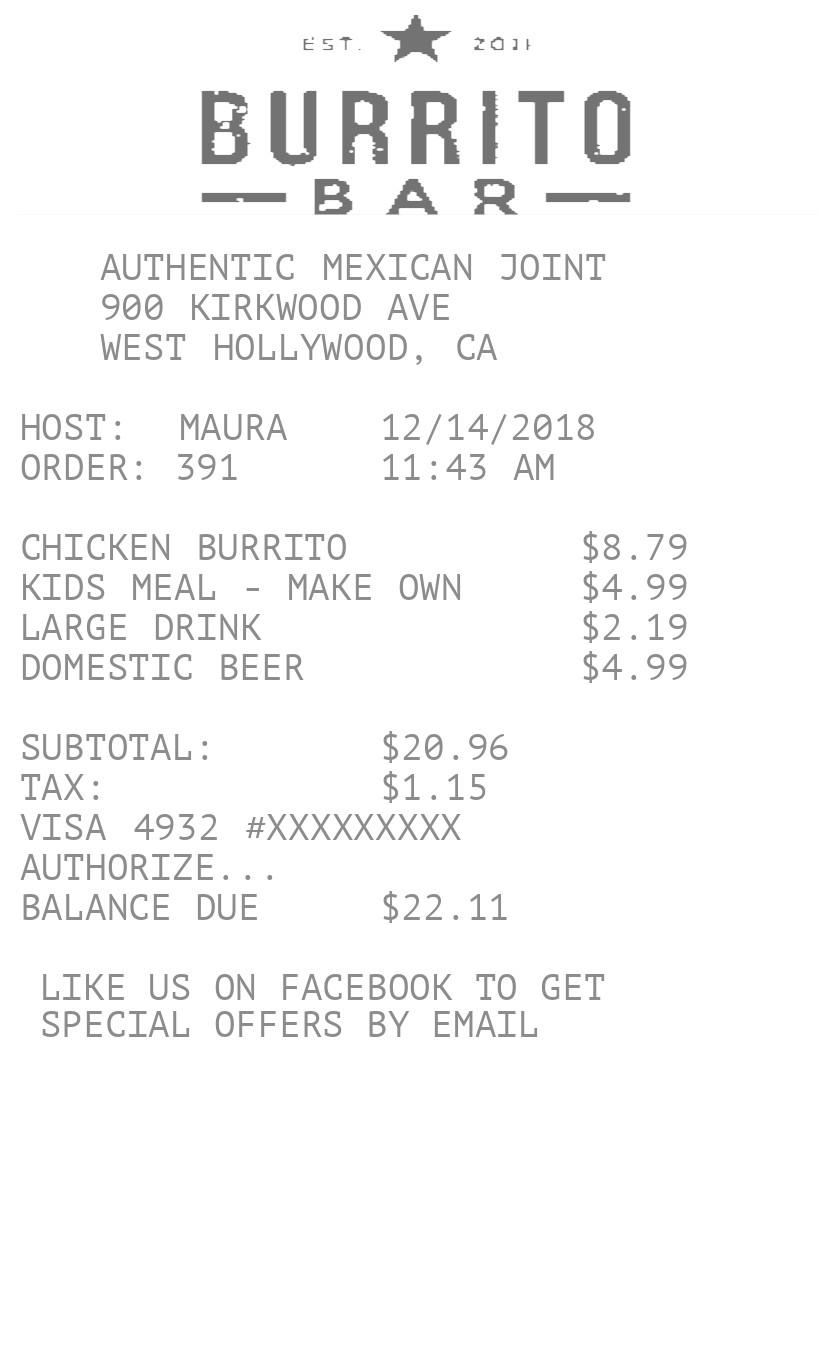 Fast Food Receipt receipt