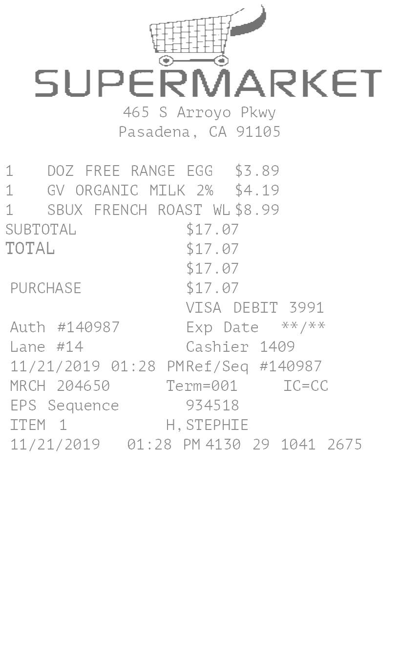 Grocery Market  Receipt receipt