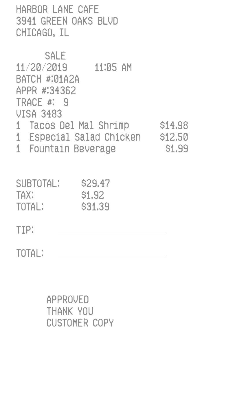Restaurant  Receipt receipt