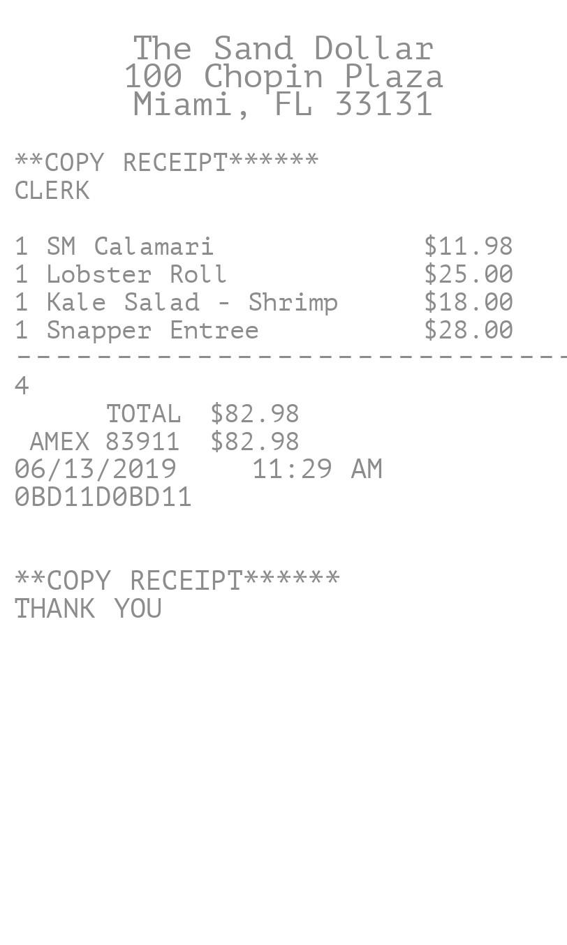 Itemized Restaurant Copy  receipt