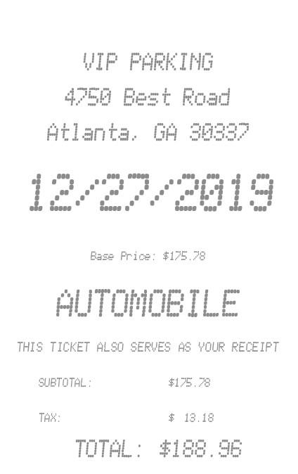 VIP Parking  Receipt receipt