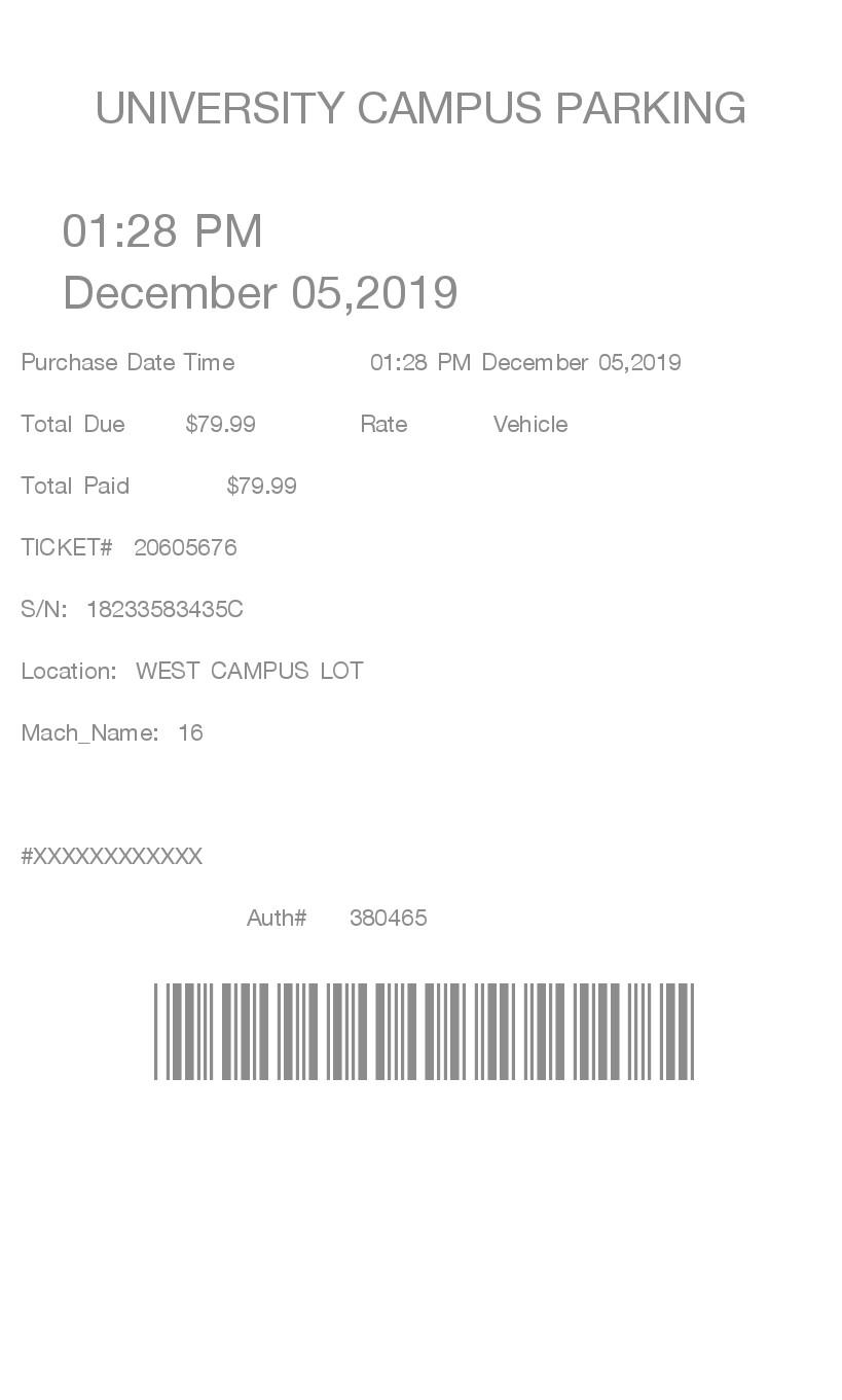 Parking Lot 4 receipt