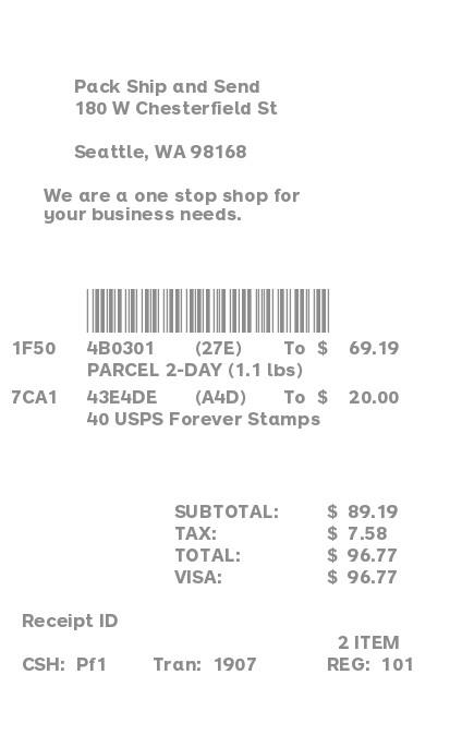 Shipping Mailing Receipt receipt
