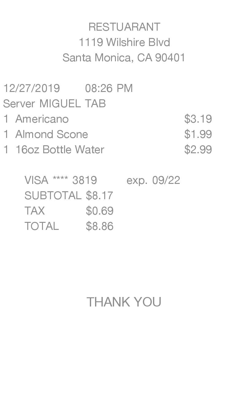 Simple Itemized receipt
