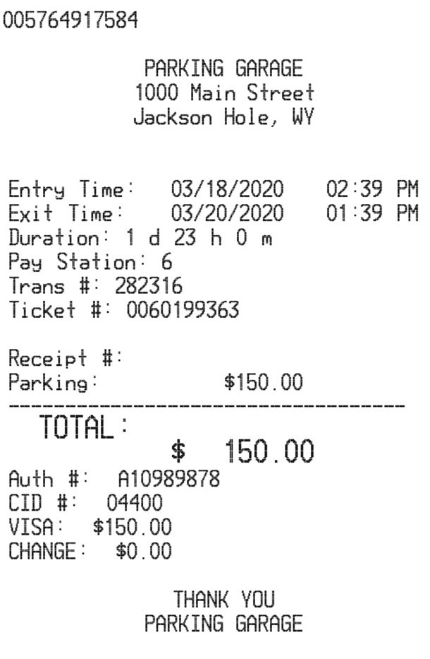 Airport Park Receipt receipt