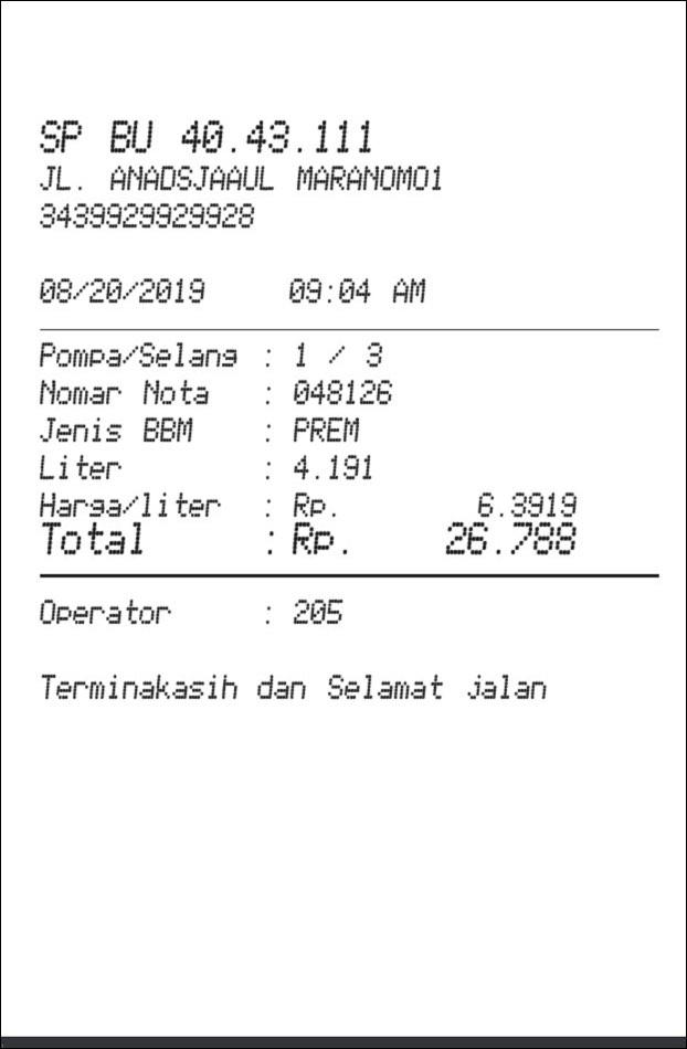 Petro Fuel Receipt receipt