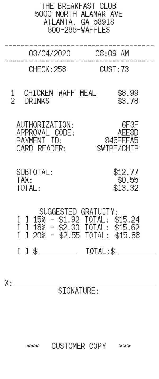 Restaurant With Tip receipt